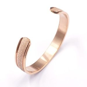 Rose Gold Mosaic Simple Style Cuff Bracelet Bangle